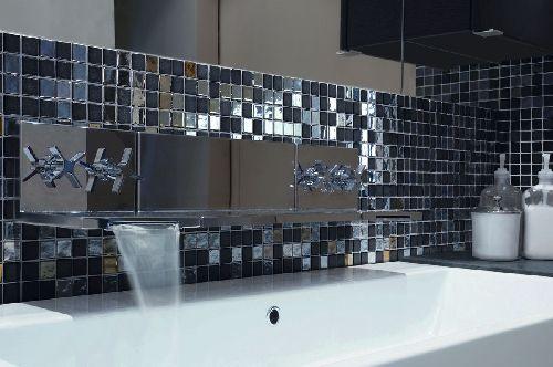 Mozaik csempe - Pastell metal / fényes metál-matt fekete üvegmozaik keverék - üvegmozaik