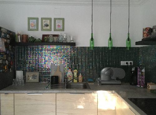DCRI-41- irizáló sötétzöld spanyol üvegmozaik