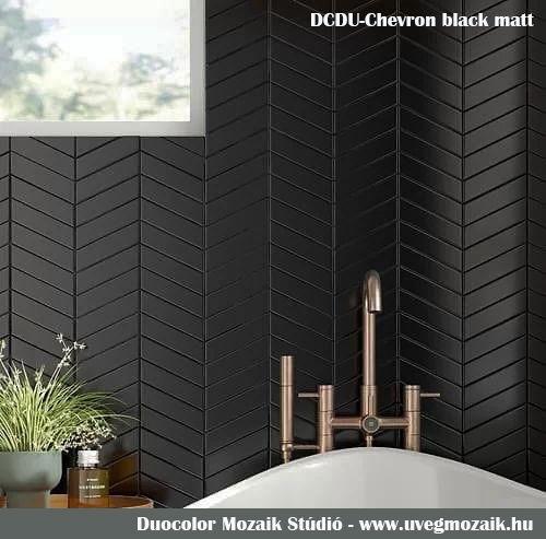 Mozaik csempe - DCDU-chevron black matt - üvegmozaik