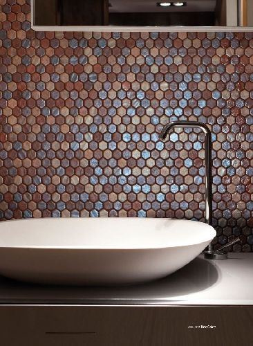 Mozaik csempe - DCO-Hex matt oxid - üvegmozaik