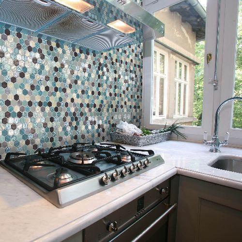 Mozaik csempe - DCO-Hexmix Akvamarin - üvegmozaik