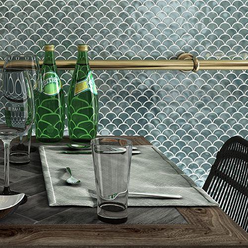 Mozaik csempe - Farfalla Green - üvegmozaik