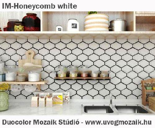 Mozaik csempe - IM-Honeycomb white - üvegmozaik