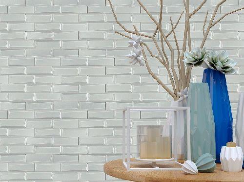 Mozaik csempe - IM-River white / fózolt fehér kristály mozaikcsempe, gyöngyházfénnyel - üvegmozaik