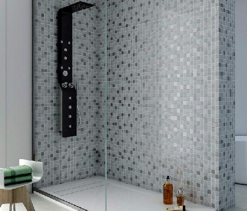 IM-Textile grey - textilmintás kristály-inox üvegmozaik keverék