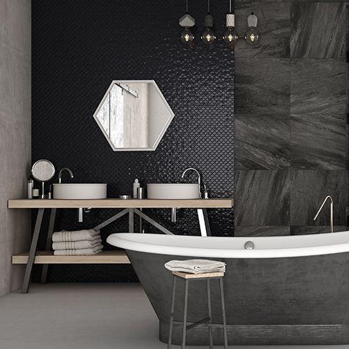 Mozaik csempe - Farfalla Black - üvegmozaik