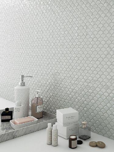 Mozaik csempe - DCOF Farfalla white - üvegmozaik
