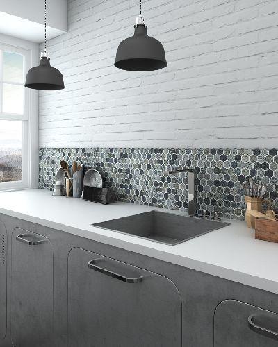 Mozaik csempe - Hexmix Bluestone Decor / szürke cementlapmintás hexagon üvegmozaik - üvegmozaik