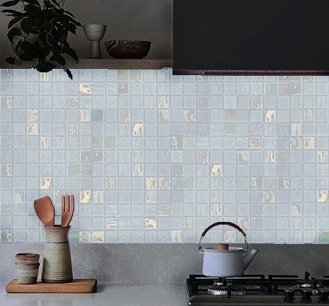 Virgo maxi / csillogó-sima fehér 5x5cm-es üvegmozaik csempe